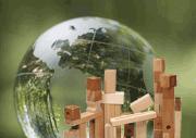 globe and building blocks